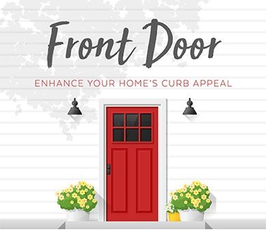 A front stoop with a red door and the word Front Door, enhance your home's curb appeal