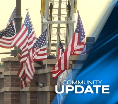 Photo of memorial on Main Street Bridge for 9/11 anniversary