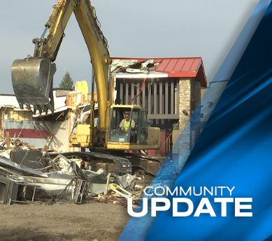 Photo of demolition of Famous Dave's